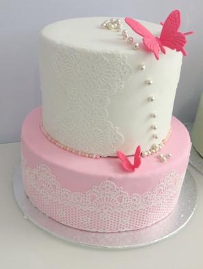 Wedding cake rose et blanc papillon.JPG