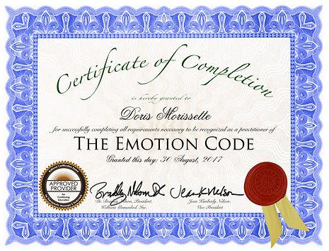 Emotion Code Certifcate