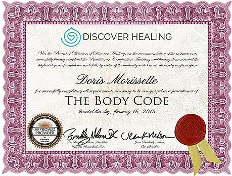 Body Code Certificate