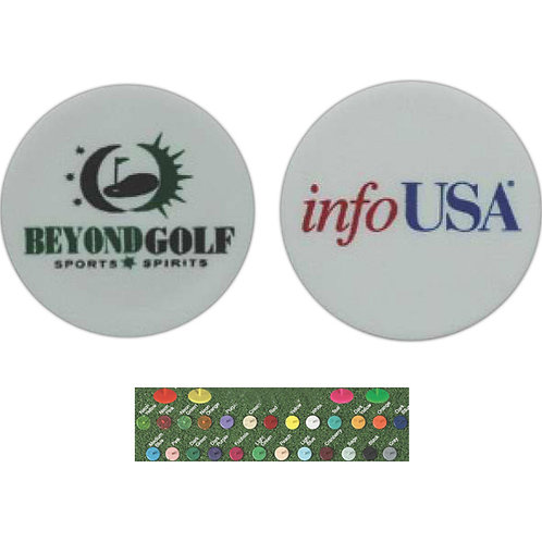 Quarter Sized Ball Marker - 2 Color Imprint