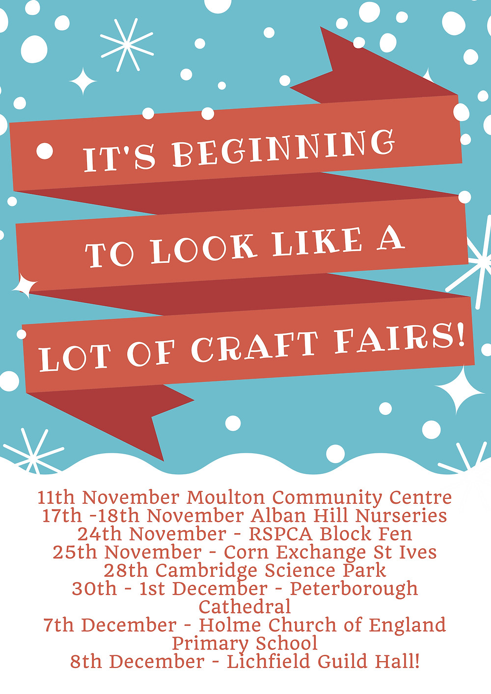 List of craft fairs and dates