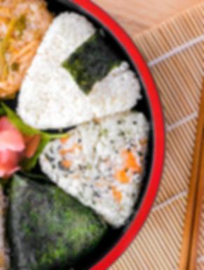 Variety of japanese triangle rice (Onigi