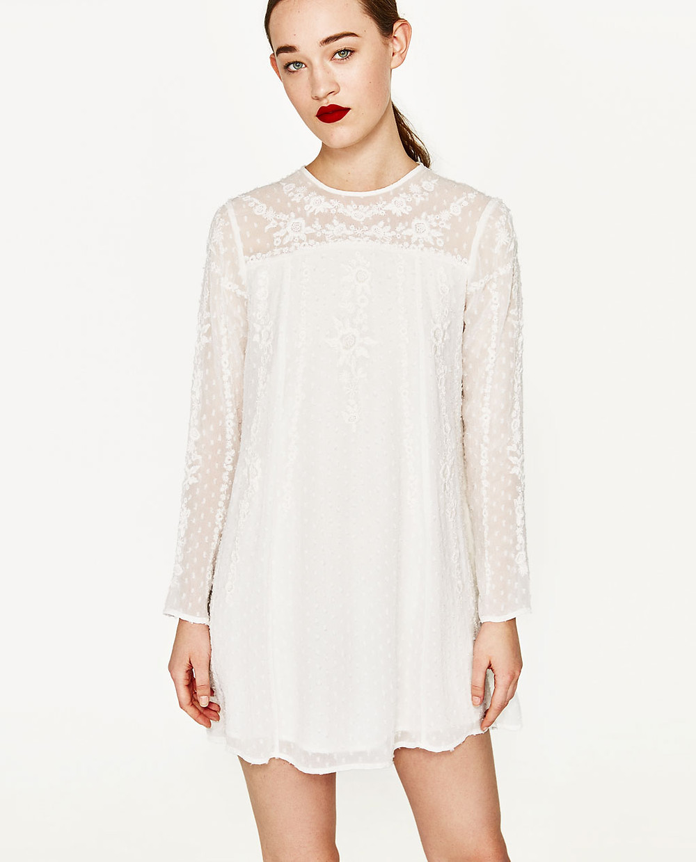 PLUMETIS DRESS WITH EMBROIDERED FLOWERS from Zara