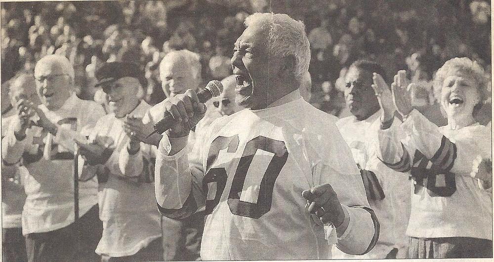 Harold singing the National Anthem at Cleveland Stadium in 2005