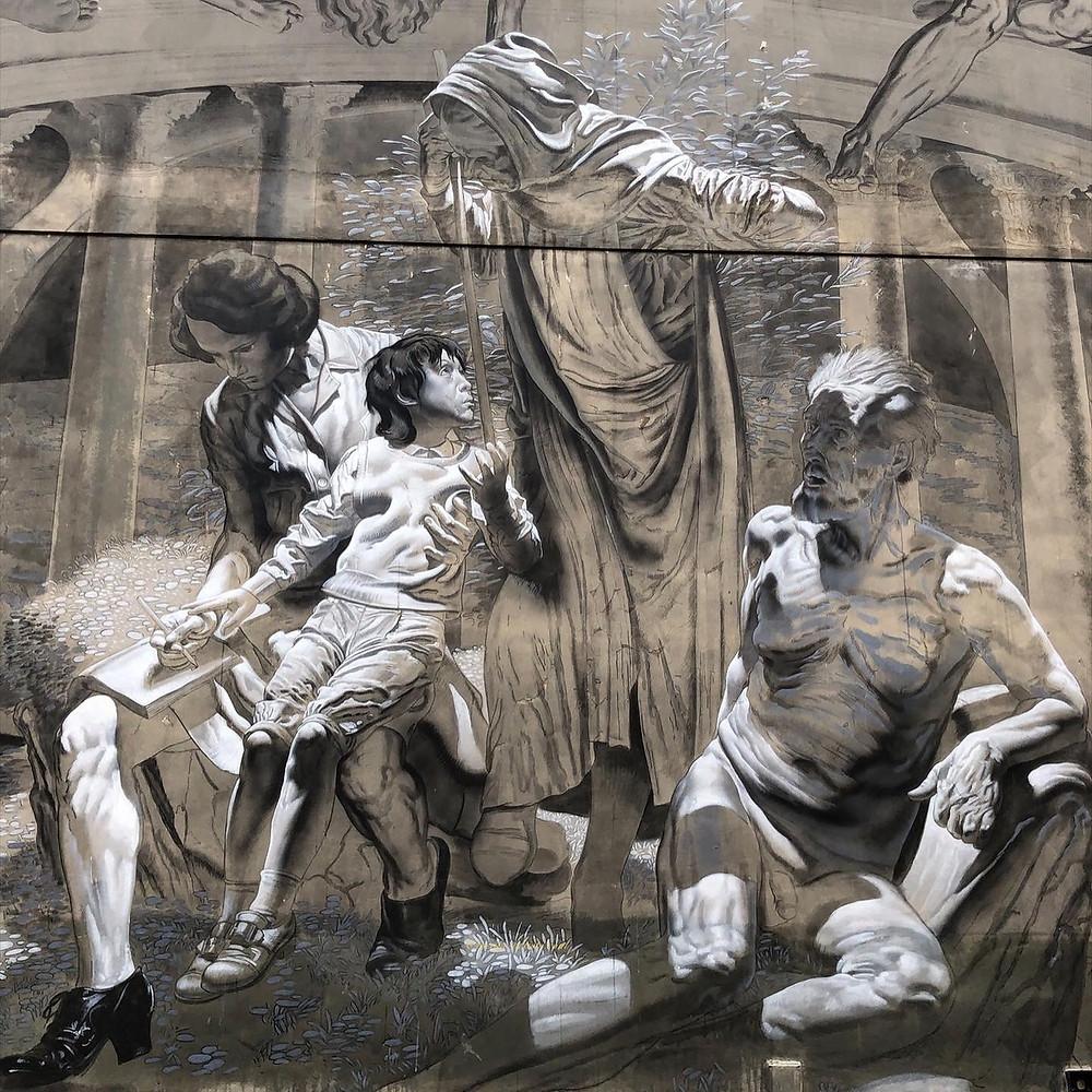 "A detail of the ""Sistine Chapel"" street art by Nicola Verlato"