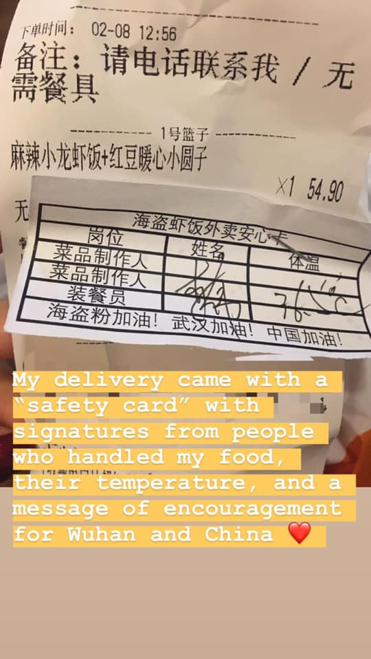 """Delivery lunch receipt with """"safety card' listing temperature of the people who have handled the food."""