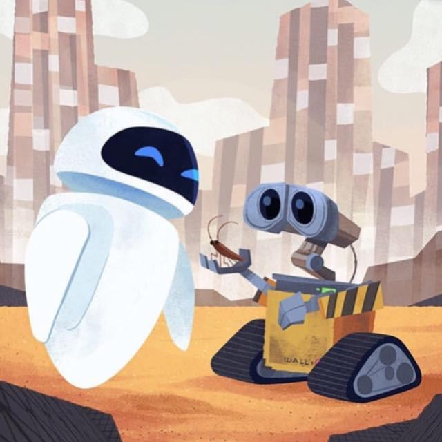 Wall-E presenting a cockroach friend to Eva. Image © Disney•Pixar
