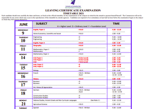 Leaving Certificate Exam Timetable 2021
