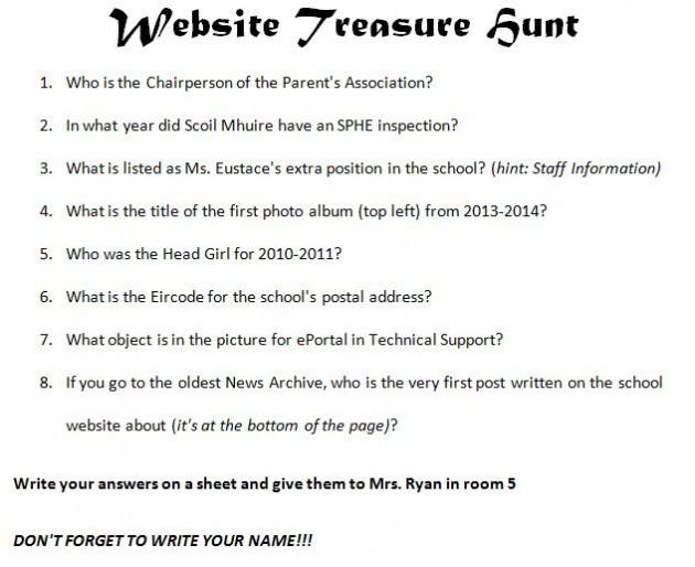 Website Treasure Hunt