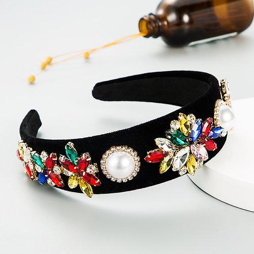 Velvet Big Pearl Stone Headband