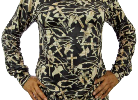 CHRISTIAN CAMO BLACK LONG SLEEVE T-SHIRT
