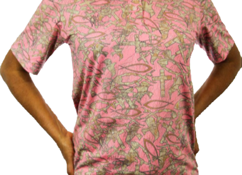 CHRISTIAN CAMO PINK POLO STYLE SHORT-SLEEVE SHIRT