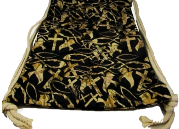 CHRISTIAN CAMO BLACK CINCH SACK