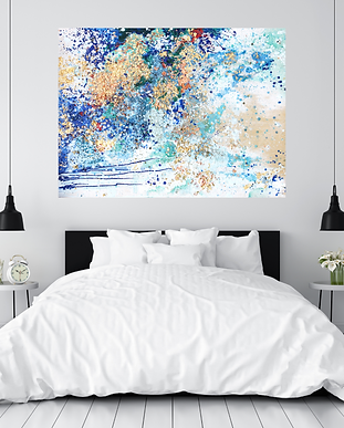 beautiful white, modern bedroom with a large oil and encaustic nonrepresentational painting above the bed, blue and gold foil abstract painting