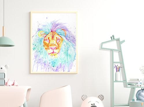 Watercolor Lion - Giclée Print