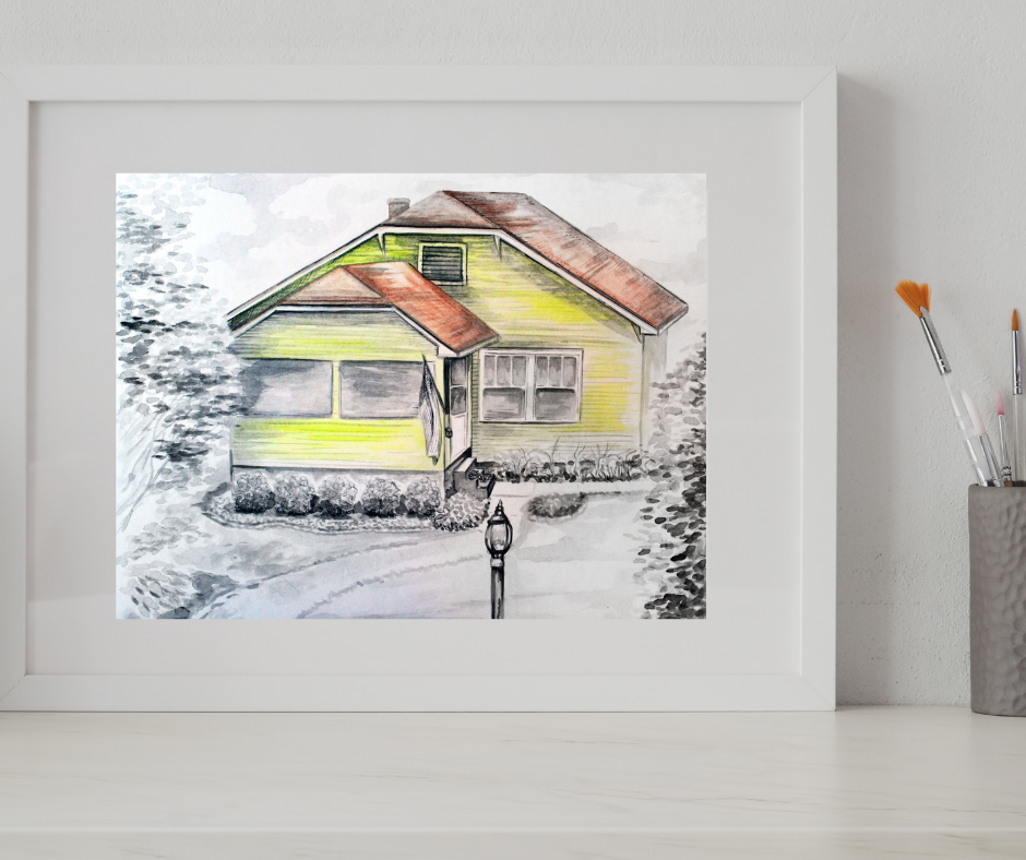 black and white watercolor portrait of a house, first time home owner gift for art lover