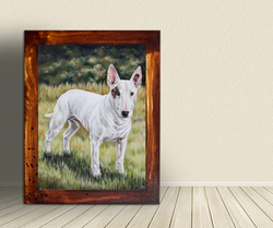 Oil painting of a Bull Terrier, Bull Terrier pet portrait hand painted by Taylor Walker of TayloredI