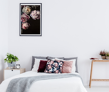 Moody, dramatic floral painting in a chic, modern room. Sexy floral painting by TayloredIllustration. Taylor Walker, Fine artist and illustrator from Fishers, IN