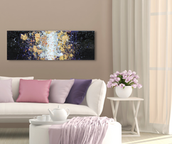 Crystalized - purple encaustic painting with gold leaf foil and broken glass. Encaustic artist in Indianapolis