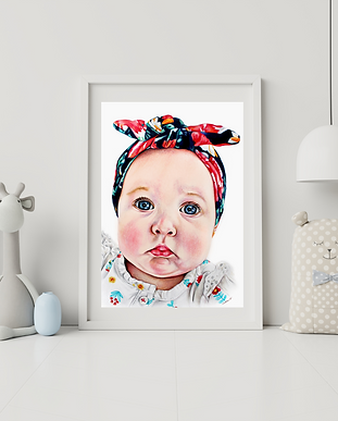 colored pencil portrait of an infant, beautiful drawing of a baby girl, Indianapolis artist specializing in portraits