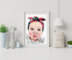 Framed colored pencil drawing of an infant, drawing of a beautiful baby girl with a floral bandana