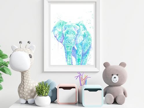 Watercolor Elephant- Giclée Print