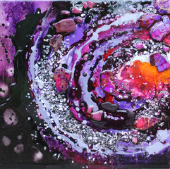 Purple encaustic painting with crushed glass and stones by TayloredIllustration