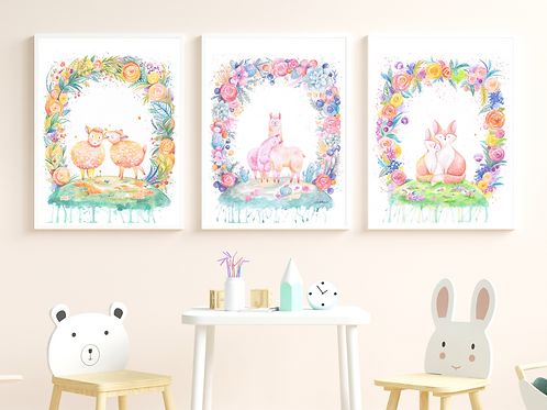 Floral Friends -Giclée Print SET