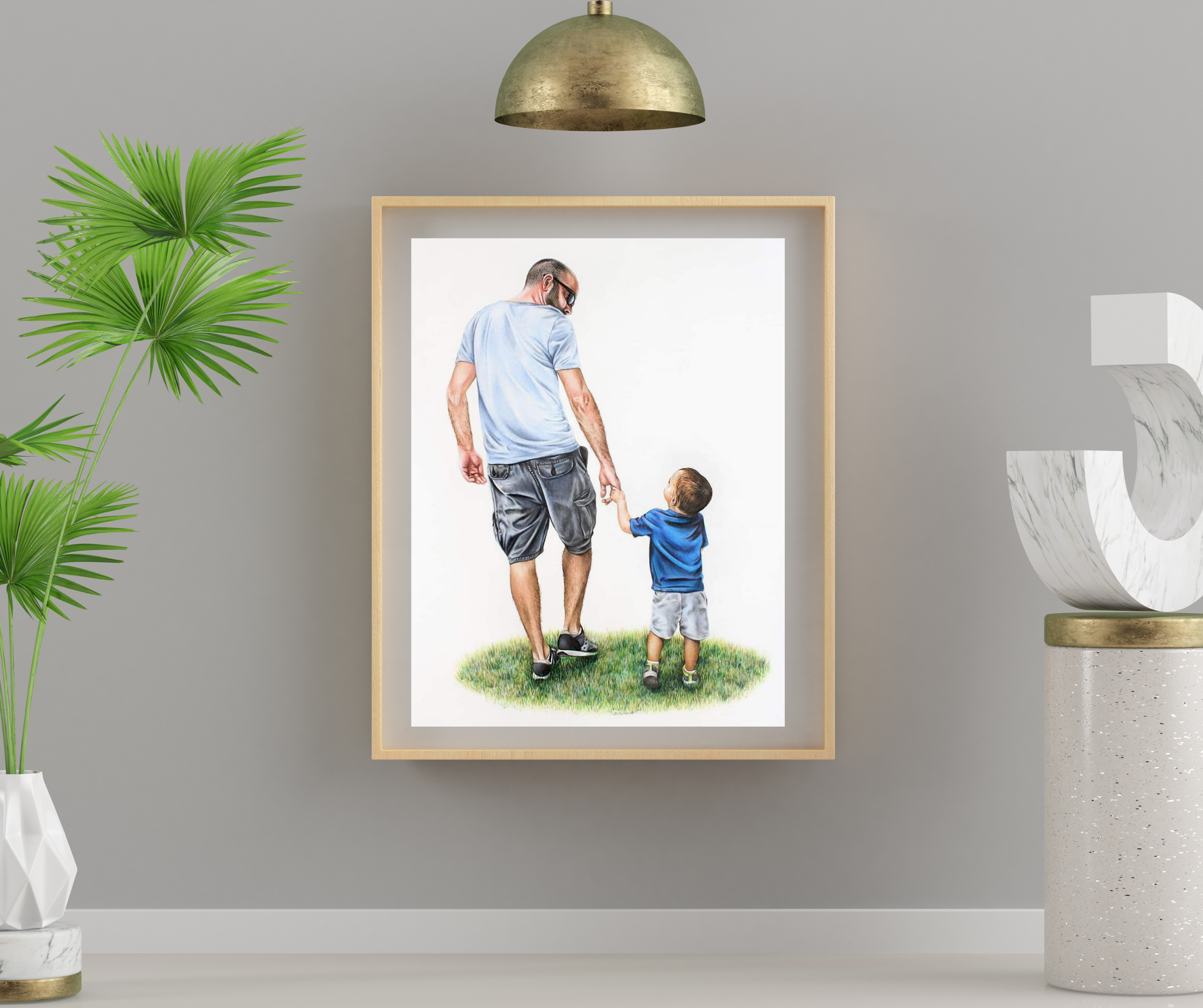 Hand Drawn custom colored pencil portrait of a father and son holding hands, Indianapolis artist spe