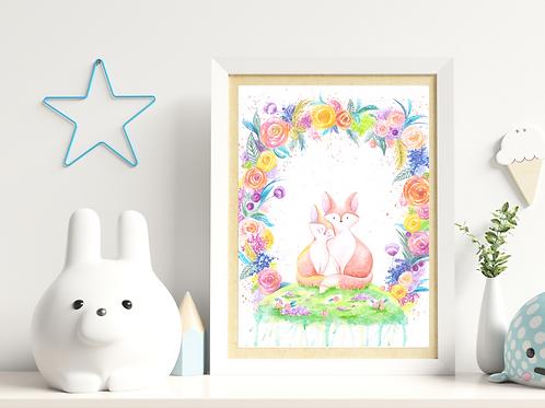 Floral Foxes - Giclée Print