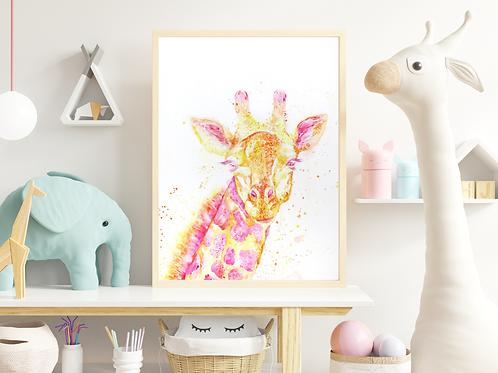 Watercolor Giraffe- Giclée Print