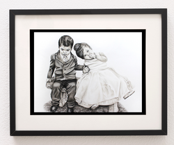 black and white colored pencil portrait of two little kids at a wedding