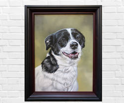 Oil painting of a Jack Russel Terrier Mix on a white brick wall