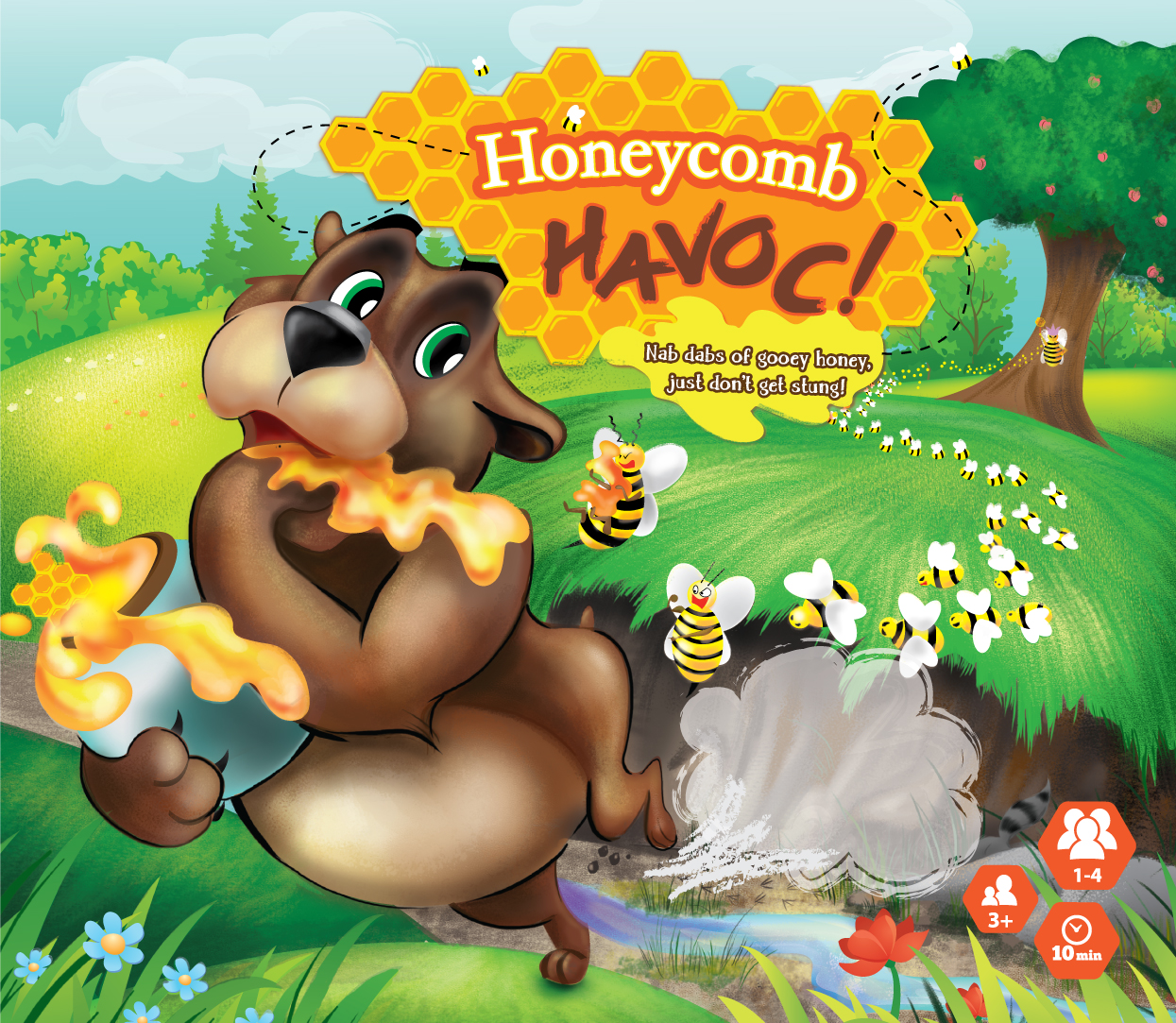 Digital Children's Illustration of a Bear and honeybees