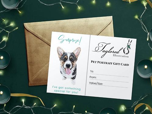 8.5x11 Pet Portrait Gift Card