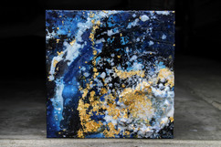 blue and gold encaustic painting by TayloredIllustration. Oceanic encaustic painting with gold leaf foil