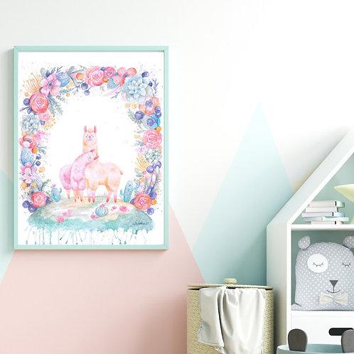 Lavender Llamas - Giclée Print