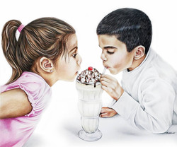 Custom drawing of two little kids sharing a milkshake, colored pencil family portrait of a brother a