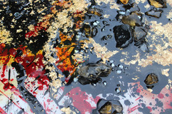 up close detail photo of mixed media encaustic by Indianapolis Fine Artist Taylor Walker