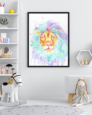 custom watercolor painting of a lion, rainbow lion fine art painting, custom nursery art by TayloredIllustration