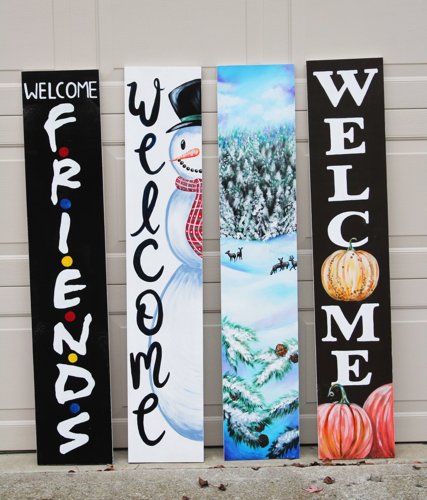 custom hand painted welcome boards, Welcome Board with the FRIENDS logo, welcome board with pumpkins