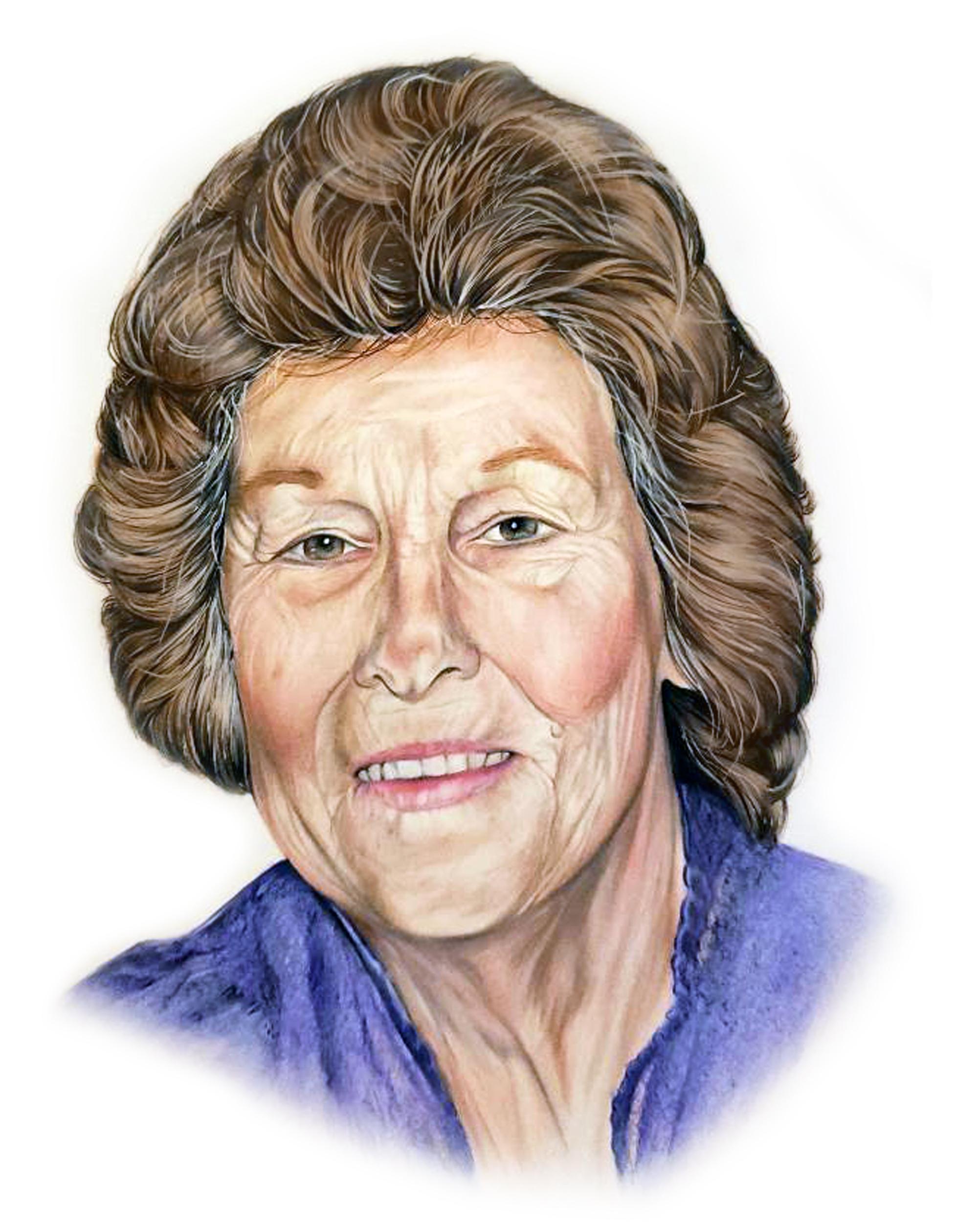 photorealistic drawing of grandma, super detailed portrait of a woman, portrait of grandma, memorial