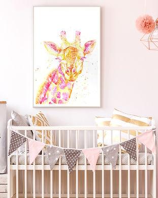 Custom Nursery art, watercolor painting of a pink and yellow giraffe, TayloredIllustration custom children's art