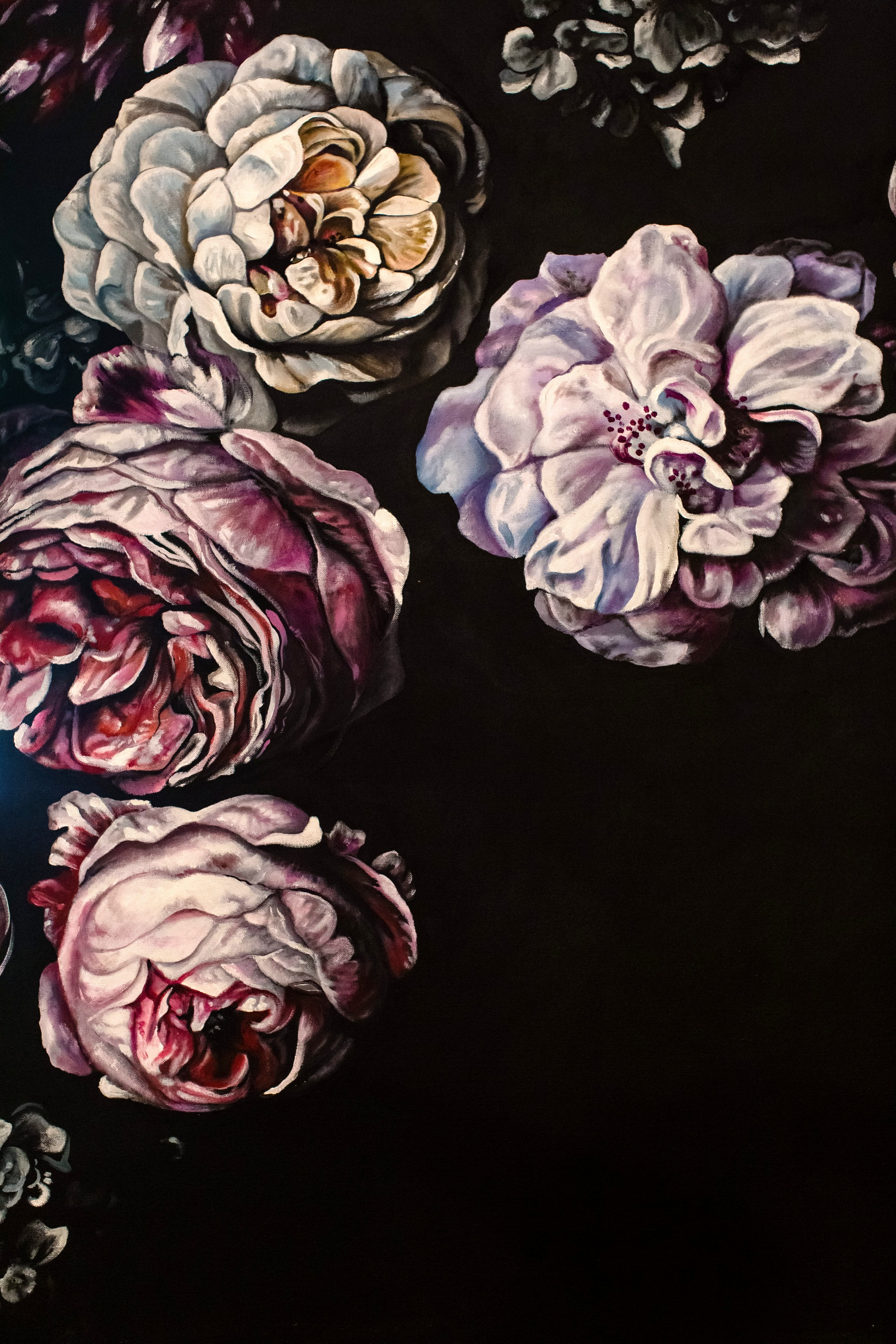 Dramatic, Moody, Sexy Floral Painting of Roses & Hydrangeas