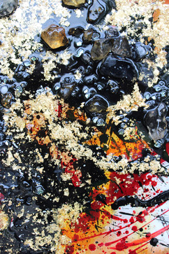 detailed shot of an encaustic painting