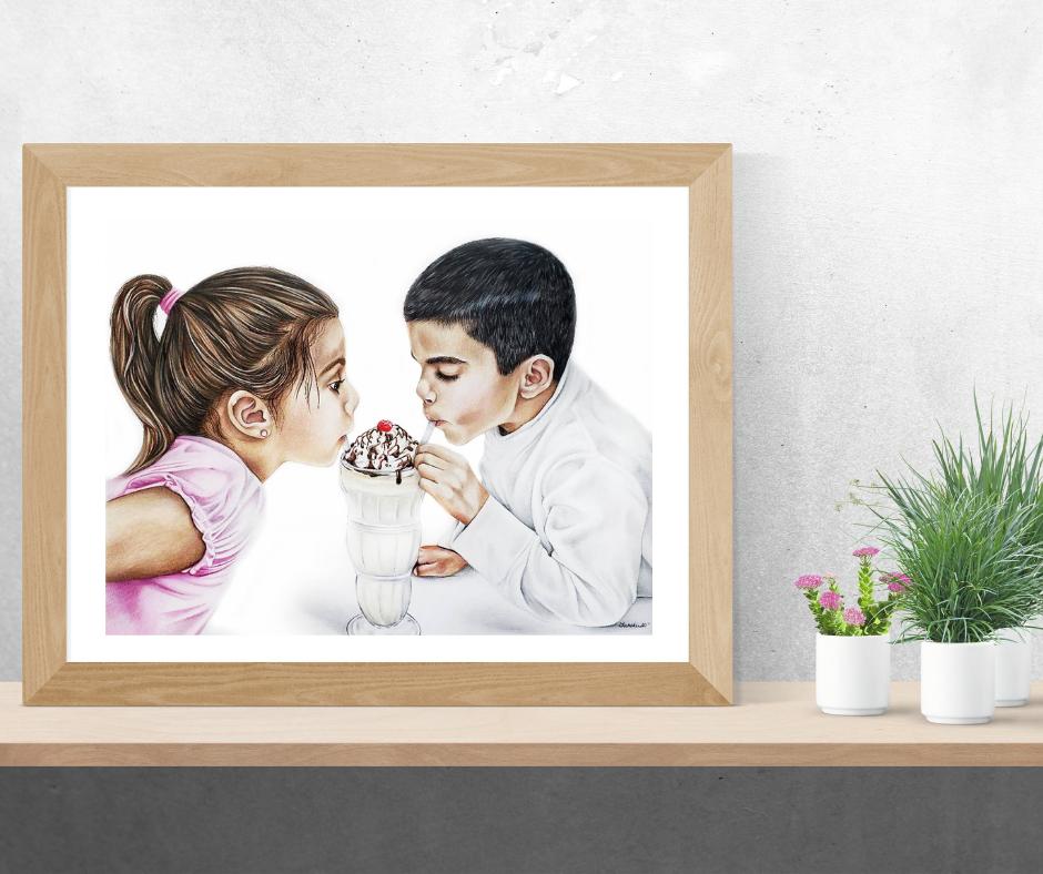 Framed colored pencil portrait of two little kids enjoying a Sundae