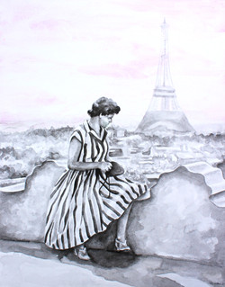 Heirloom watercolor, Old Parisian photo from the 1940s recreated into a stunning watercolor painting