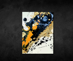 black and white encaustic painting with gold leaf accent
