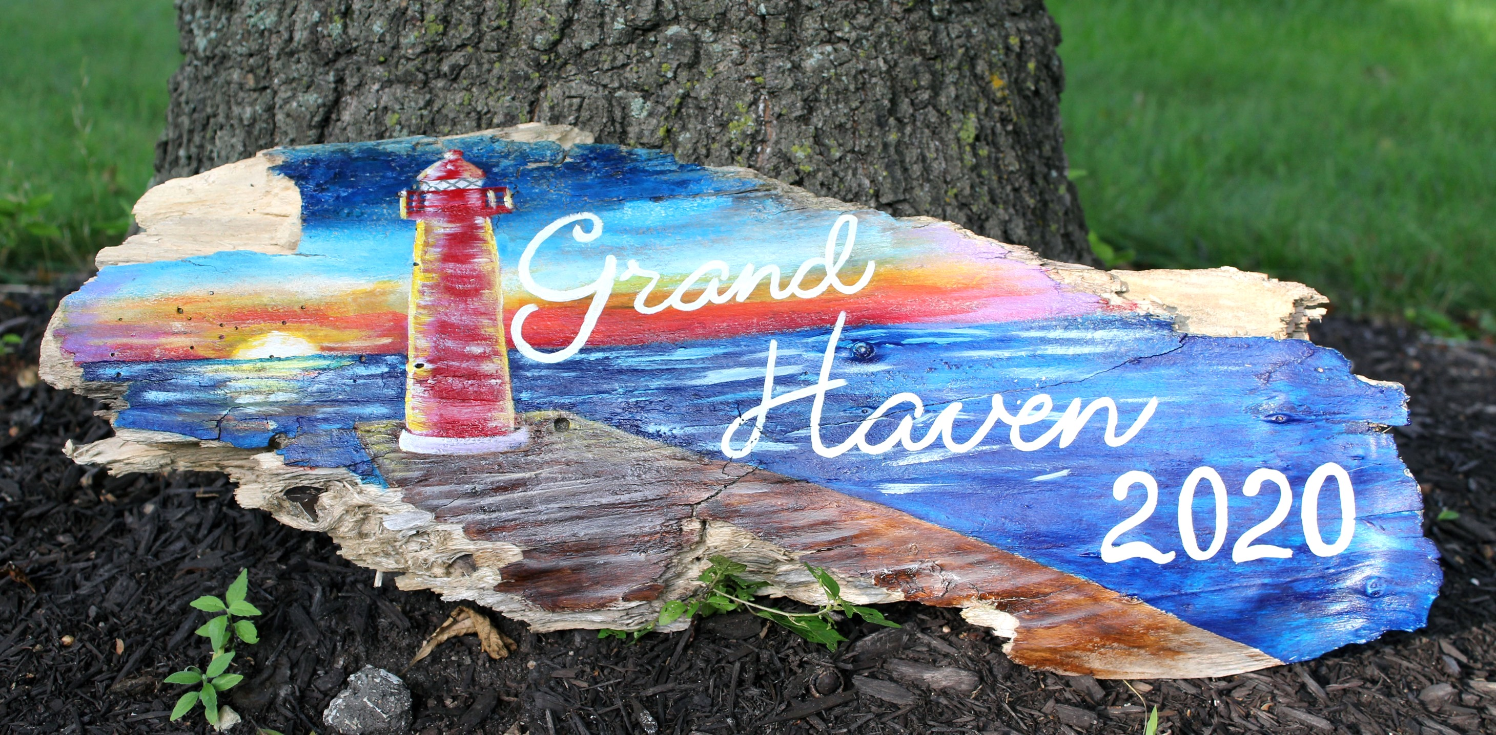 Hand Painted driftwood, Grand Haven Michigan