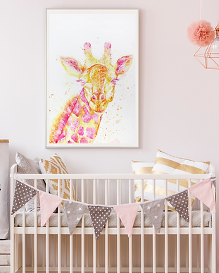 Little girl's nursery with a beautifully framed watercolor painting of a giraffe
